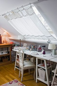 Cool Paris apartment with shabby chic home office in white 30 Gorgeous Shabby Chic Home Offices and Craft Rooms