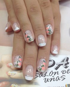 Nail Art For Kids, Stylish Nails, Beauty Nails, Flower Designs, Nail Art Designs, Manicure, Finger, White Nail Beds, Nail Hacks