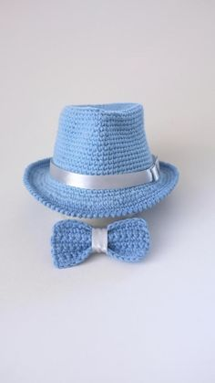 87d34a87a0e Baby Blue Fedora Hat and Bow Tie Set Newborn Photo Prop Baby Boy Shower  Gift Infant Cotton Hat Crochet Fedora Cute Hats from Mila