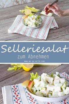 Dieser leckere und schnelle Staudensellerie Salat mit Apfel und Saurer Sahne hilft beim Abnehmen! Er schmeckt sehr erfrischend und ist das perfekte Low Carb Abendessen mit wenig Kalorien. Wer auf der Suche nach Low Carb Rezepten ist, ist hier richtig.#lowcarb#abnehmen#salat Potato Salad, Salads, Ethnic Recipes, Food, Lunch Ideas, Apple, Meal, Essen, Meals