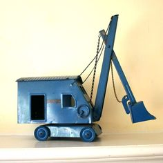 blue steam shovel