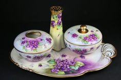Antique-D-C-Limoges-Porcelain-4Pc-DRESSER-Set