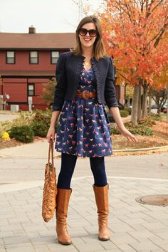 Printed dress w/ belt, tights, blazer and boots