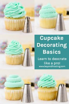 Learn all the tips and tricks for how to decorate bakery style cupcakes. - Learn all the tips and tricks for how to decorate bakery style cupcakes. This Cupcake Piping Tutori - Cupcake Piping, Piping Frosting, Vanilla Frosting, Frosting Recipes, Cupcake Recipes, Baking Recipes, Dessert Recipes, Fun Cupcakes, Cupcake Cookies