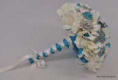Turquoise Hydrangea Jeweled lfower bouquet by Blue Petyl #wedding #bouquet #turquoise