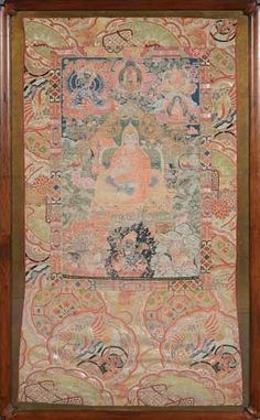 A Fine Embroidered Tibetan Thangka Century With a central seated lama before an altar table, flanked by acolytes and demons amongst clouds and flames, embroidered silk mount, framed and glazed 47 x 25 inches x cm) Embroidered Silk, Buddhism, 19th Century, Antiques, Vintage, Antiquities, Antique, Vintage Comics, Old Stuff