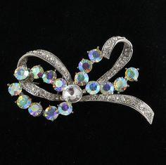Aurora Borealis Rhinestone Bow Pin Brooch Vintage Jewelry.