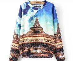 Paris Effiel Tower Print Womens Sweatshirt/Harajuku Effiel Tower Landscape Womens Casual Pullover
