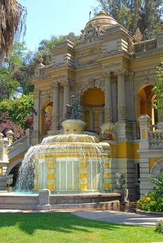 The Terrazo Neptuno water fountain at Cerro Santa Lucía, Santiago, Chile. This park and fountain attract 100s of visits daily.