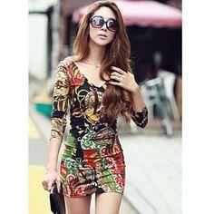 여성의 V 넥 프린트 미니 드레스 - KRW ₩ 11,759