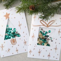 DIY Christmas Card Ideas with Confetti - LOVE these. DIY at Are you looking for some dazzling DIY Christmas card ideas? Sequins were used to make an eye-catching confetti creation in these festive holiday cards! Pop Up Christmas Cards, Diy Holiday Cards, Christmas Card Crafts, Homemade Christmas Cards, Simple Christmas, Handmade Christmas, Christmas Decorations, Cards Diy, Homemade Cards