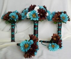 Gorgeous Turquoise Bridal Bouquet with chocolate brown silk wedding flowers package Designed with realistic gerberas ivory accents and finished off with chocolate brown ribbon with turquoise overlay wide tall This Daisy Wedding, Beach Wedding Flowers, Wedding Flower Decorations, Wedding Colors, Wedding Bouquets, Wedding Centerpieces, Wedding Dresses, Camouflage Wedding, Camo Wedding