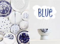 Painted plate project - upcycle plain white plates with blue paint, via Ikea