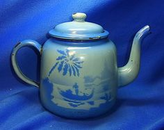 Vintage German Graniteware Enamel Tea Can Landscape Motive
