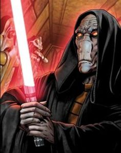 Darth Plagueis with his lightsaber. Such a powerful sith lord. But the rule of two got him.