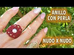 ANILLO CON PERLA - YouTube Macrame Rings, Macrame Mirror, Macrame Plant Hangers, Macrame Knots, Macrame Jewelry, Macrame Bracelets, Loom Bracelets, Chevron Friendship Bracelets, Friendship Bracelets Tutorial