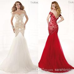 Wholesale Evening Dresses - Buy White Red Designer Lace Backless Cheap Mermaid Ball Gown 2014 Tarik Ediz Formal Evening Dresses Long Pageant Sexy Prom Dress Tulle Elegant, $149.0   DHgate