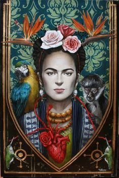 The Paintings of Sophie Wilkins Frida Kahlo Frida E Diego, Diego Rivera Frida Kahlo, Frida Art, Art And Illustration, Fridah Kahlo, Frida Kahlo Portraits, Art Visionnaire, Kahlo Paintings, Arte Fashion
