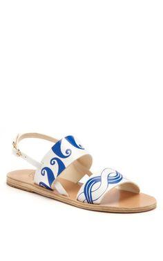 White  Blue Calypso Sandal by Ancient Greek Sandals