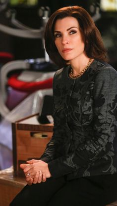The Good Wife Season 5 Outfits, Explained by Costume Designer Daniel Lawson - Season 5, Episode 8: Rena Lange Jacket, Brooks Brothers Necklace and Gucci Trousers from #InStyle