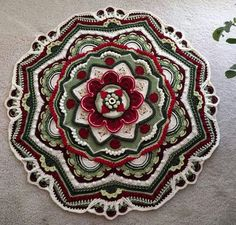 crochet mandala pattern Finally chose colors and have bought most of the yarn, might need a few more skeins here and there depending on yarn usage. added Heather in part - Im not sure the yarn totals are. Crochet Mandala Pattern, Crotchet Patterns, Crochet Stitches Patterns, Crochet Art, Crochet Squares, Crochet Crafts, Crochet Doilies, Crochet Projects, Knitting Patterns