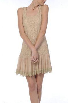 Women's Darla Drop Waist Lace Dress Beige Medium & Large ONLY
