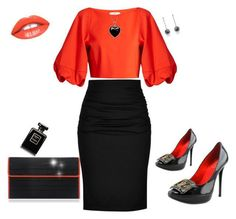 """Diva Orange and Black outfit"" by kercey ❤ liked on Polyvore featuring Paule Ka, Poupée Couture, TIBI, Roger Vivier and Lord & Taylor"