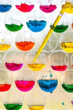 This science experiment for kids uses really basic materials and is a way to teach kids about the science behind color theory. When they're finished, this science experiment makes for a colorful decoration to hang in a window. When the sun shines through, it looks gorgeous! For sanity saving purposes, hang the bubble wrap on the outside of your window, that way if it gets bumped or falls, it doesn't stain your floor.