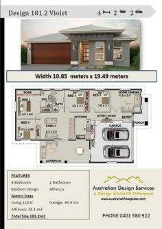 House plan 2 violet narrow lot 4 bedroom 2 bathroom family home plans - buy this plan - full concept house plans. Play it safe with our low cost plans with copyright release. - home with cinema room - 4 bedrooms - double garage - large kitchen -. House Plans For Sale, Family House Plans, Modern House Plans, Small House Plans, House Floor Plans, Garage Double, 2 Bedroom House Plans, Minimalist House Design, Mediterranean Homes