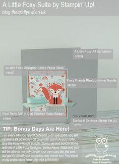 #FoxyFriends #ALittleFoxy #StampinUp #BonusDays The Crafty Owl | It's Your Day My Foxy Friend!