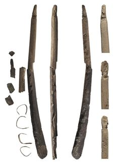 Neolithic Bow and Arrow Revealed in Melting Snow in Norway; Bow fragments Credit: Hojem/Callanan-NTNU The bow, made of elm, was about 3,800 years old. Callanan believes the bow was used to hunt reindeer.