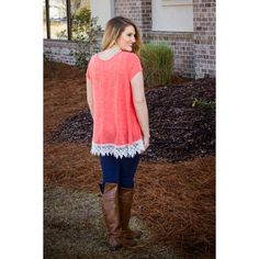 Falling Into Place Top- Coral with lace trim 4 colors available  $29 each Grab your favorite now at www.walkerboutique.com