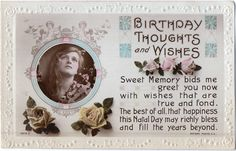 Rotary Song Postcard Birthday Thoughts & Wishes Young Woman Roses Embossed…