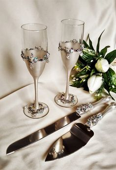 Rustic Wedding Champagne Flutes Gles Lace Vintage And