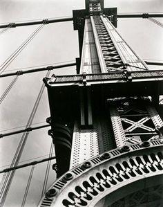 Berenice Abbott, Manhattan Bridge: Looking Up, 1936; gelatin silver print, 10 in. x 8 1/16 in. (25.4 cm x 20.48 cm); Collection SFMOMA, Gift of Ronald A. Kurtz