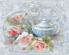 Victorian Tea Time Large digital download pink roses BUY 3 get one FREE ecs rdtt…