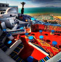 Most beautiful place, where my grandfather grew up - Cafe des Delices - Sidi Bou Said, Tunisia
