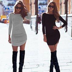 Sunward Sexy Women Long Sleeve Bodycon Side Slit Casual T Shirt Party Mini Dress – Shopstun