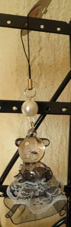bijou de téléphone portable nounours ourson tutu dentelle-perle cadeau de noël