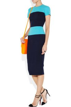 Victoria Beckham dress. Brilliant, flattering color blocking