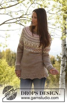"""Elena - Knitted DROPS jumper with long sleeves, round yoke and pattern in """"Nepal"""". Size: S - XXXL. - Free pattern by DROPS Design Fair Isle Knitting Patterns, Sweater Knitting Patterns, Knit Patterns, Free Knitting, Drops Design, Crochet Motifs, Knit Or Crochet, Etnic Pattern, Nepal"""
