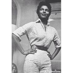 Dorothy Dandridge circa 📷: on IG. Dorothy Dandridge, Hollywood Glamour, Pin Up Girls, Black History, Lace Skirt, Chef Jackets, Black Women, Men Sweater, Beautiful Women
