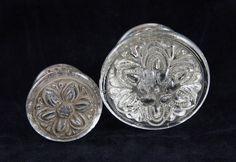 Ornate glass drawer pull set by oldegoodthings on Etsy