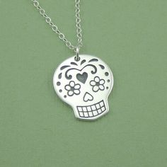 Large Sugar Skull Necklace, sterling silver, Day of the Dead necklace, pendant, handmade.via Etsy.
