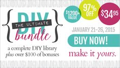 A complete package of eBooks & eCourses dedicated to DIY & crafting. A $1200+ value, for just $34.95! Just 6 days.