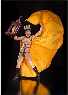 Drag King Lou Henry Hoover Reigning King of Boylesque, Mr. Exotic World 2017 King Midas costume by Eric Gorsuch photo by Michael Doucett trophy by Burlesque Hall of Fame Weekend