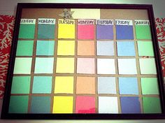 Finally made my own Paint chip calendar. I'm going to use this in my classroom to keep students and myself organized and informed. I used an old frame, some tape, and free paint chips from Walmart. Cheap, cute, and functional! :)  #diy #teaching #organization #cheapprojects