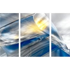 "Menaul Fine Art 'Iced Triptych' by Scott J. Menaul 3 Piece Graphic Art on Wrapped Canvas Set Size: 54"" H x 87"" W"