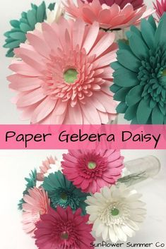 learn how to make these paper gerbera daisies. They are super easy and quick to make. Paper flower t - - learn how to make these paper gerbera daisies. They are super easy and quick to make. How To Make Paper Flowers, Large Paper Flowers, Paper Flowers Wedding, Tissue Paper Flowers, Paper Flower Wall, Paper Flower Backdrop, Paper Roses, Rolled Paper Flowers, Gerbera Wedding