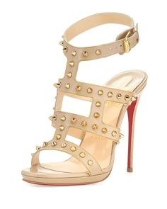 Christian Louboutin Sexystrapi Jazz Studded-Zip Red Sole Pump, Beige/Gold